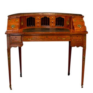 Edwardian Painted Satinwood Carlton House Writing Desk For Sale