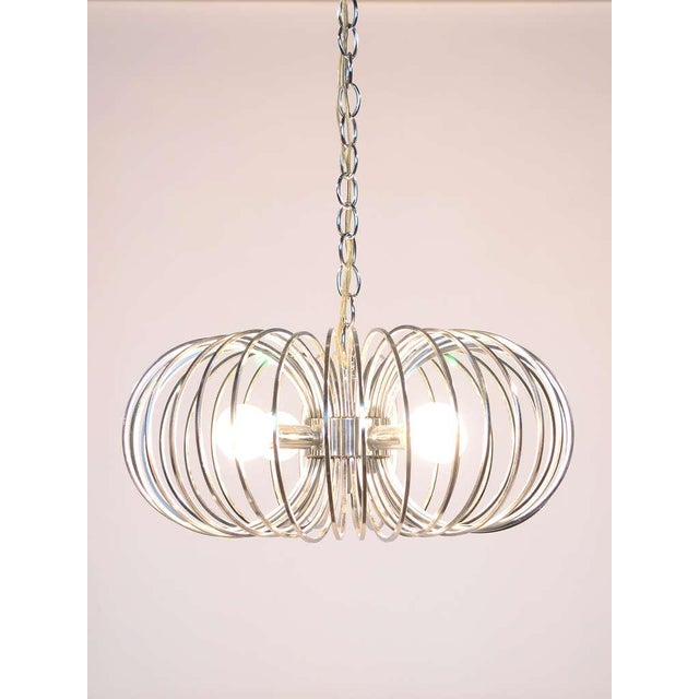 "Lightolier Gaetano Sciolari ""Cage"" pendant lamp by Lightolier For Sale - Image 4 of 11"