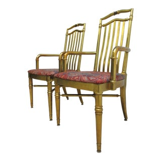 Drexel Gold Regency Decorator Arm Chairs - a Pair