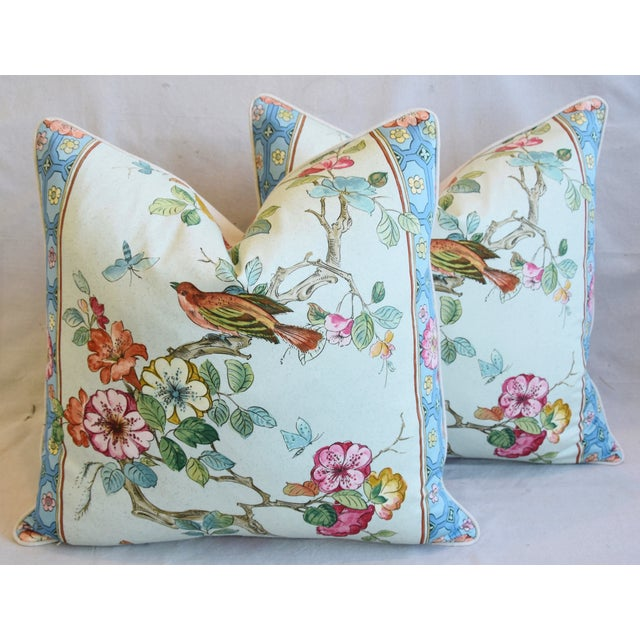 """English Chinoiserie Floral & Birds Feather/Down Pillows 24"""" Square - Pair For Sale - Image 13 of 13"""