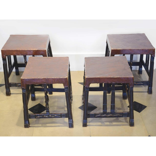 """African Set of 4 """"Chokwe"""" African Stools, in Sculpted Wood and Parchment For Sale - Image 3 of 12"""