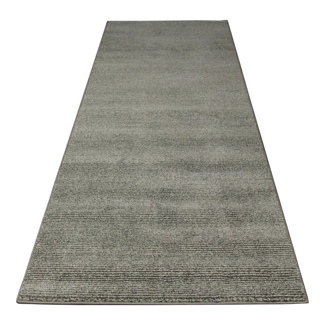Contemporary Gray & White Striped Rug - 2'8'' x 10' - Image 1 of 6
