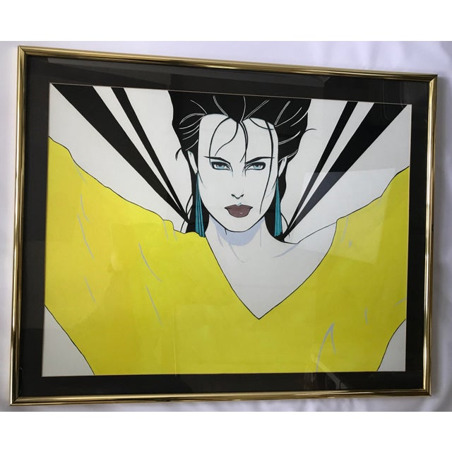 Patrick Nagel Inspired Original Painting - Woman in Yellow Sweater - Image 2 of 11