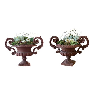 Potted French Iron Urns - a Pair For Sale