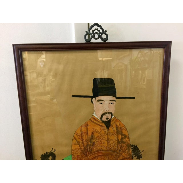 1950s Chinese Ancestor Portrait Watercolor & Ink on Parchment For Sale - Image 5 of 8