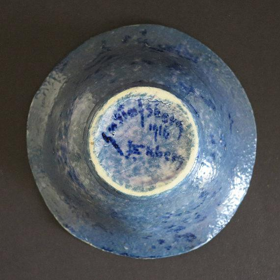 Gustavsberg Josef Ekberg for Gustavsberg Ceramic Pottery Blueberry Bowl Fully Signed and Dated 1916 For Sale - Image 4 of 6