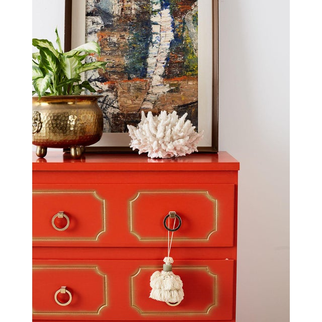 Dorothy Draper Style Coral Red Commode or Chest For Sale - Image 10 of 13