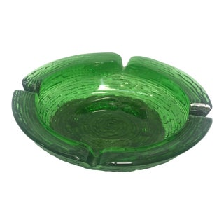 1960s Vintage Mid-Century Modern Green Glass Bamboo Ashtray For Sale
