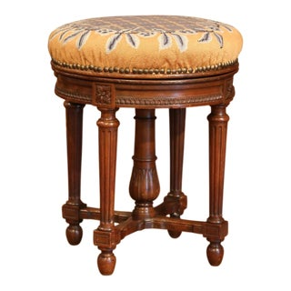 19th Century French Louis XVI Carved Walnut Round Adjustable Swivel Piano Stool For Sale