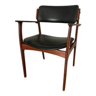 1960s Vintage Erik Buch Danish Modern Teak & Black Faux Leather Arm Chair For Sale