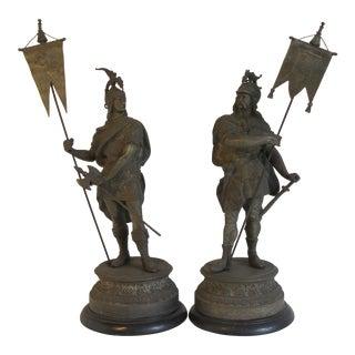 Roman Soldier Statues- A Pair