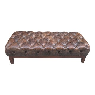 Brown Distressed Tufted Leather Bench For Sale