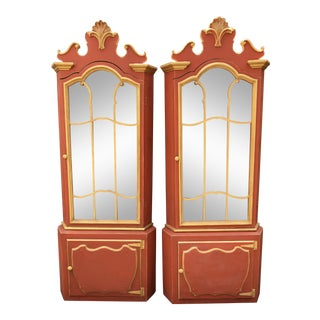 Pair of Pompeian Red Hollywood Regency Corner Cabinets