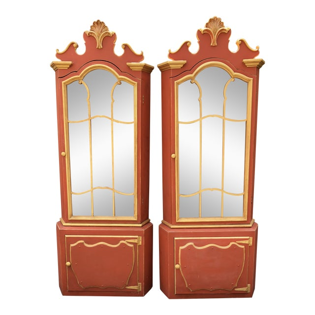 Pair of Pompeian Red Hollywood Regency Corner Cabinets For Sale