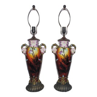 Tall French Majolica Art Nouveau Flowers Vase Form Table Lamps - a Pair For Sale