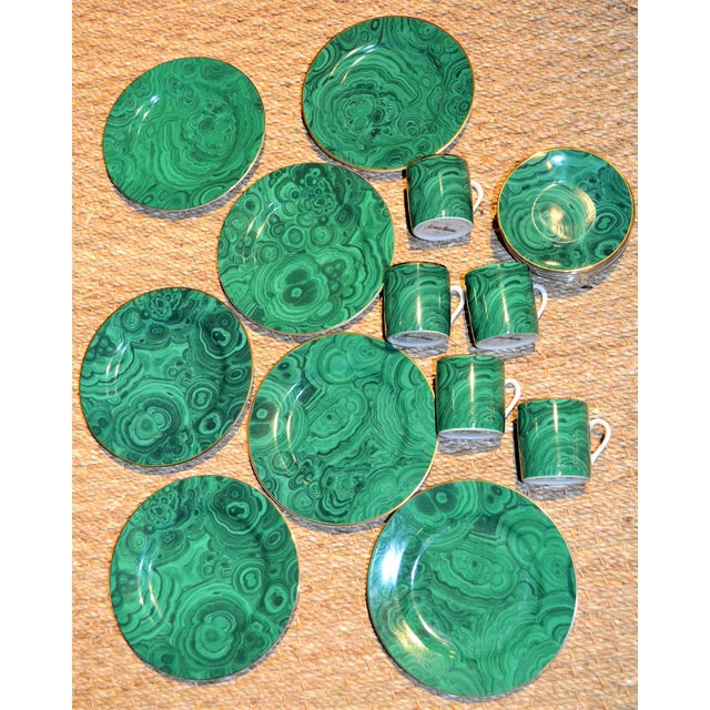 Neiman Marcus Malachite Dinnerware - Set of 19 For Sale - Image 9 of 10
