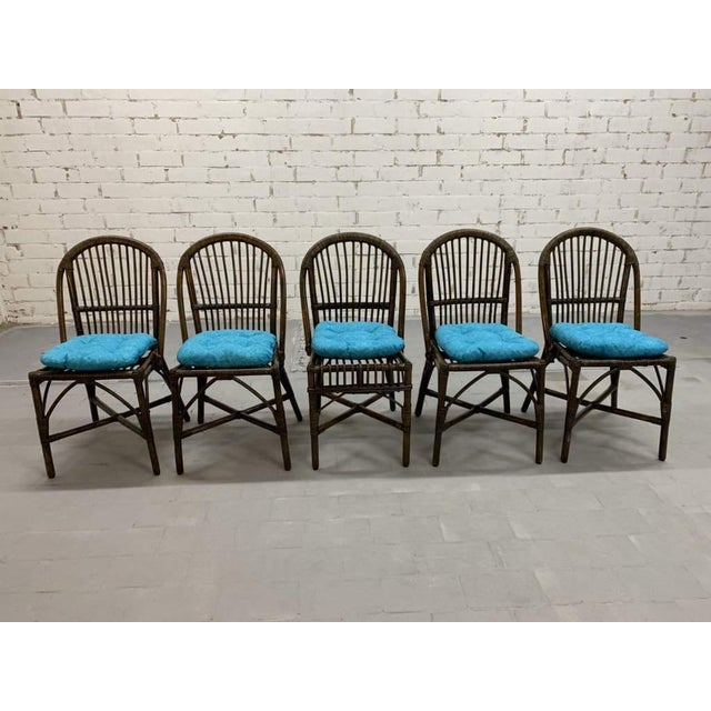 Set of 5 Italian Vintage Bamboo Patio Dining Chairs For Sale In New York - Image 6 of 11