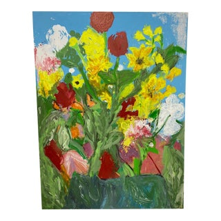 Abstract Lakeview Terrace Flowers Signed Listed Artist Oil on Canvas For Sale