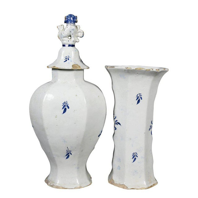 Rococo Delft Five-Piece Blue and White Pottery Garniture For Sale - Image 3 of 11