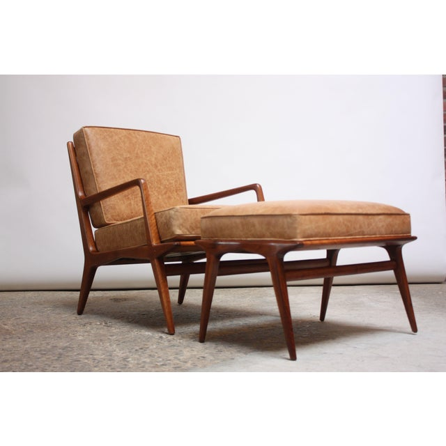 Italian Italian Modern Carlo De Carli Walnut and Leather Lounge Chair and Ottoman For Sale - Image 3 of 13