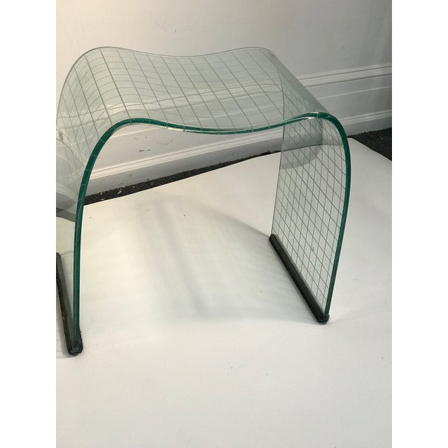 Late 20th Century Late 20th Century Vittorio Livi Curved Glass Crystal Scroll Side Tables - a Pair For Sale - Image 5 of 7