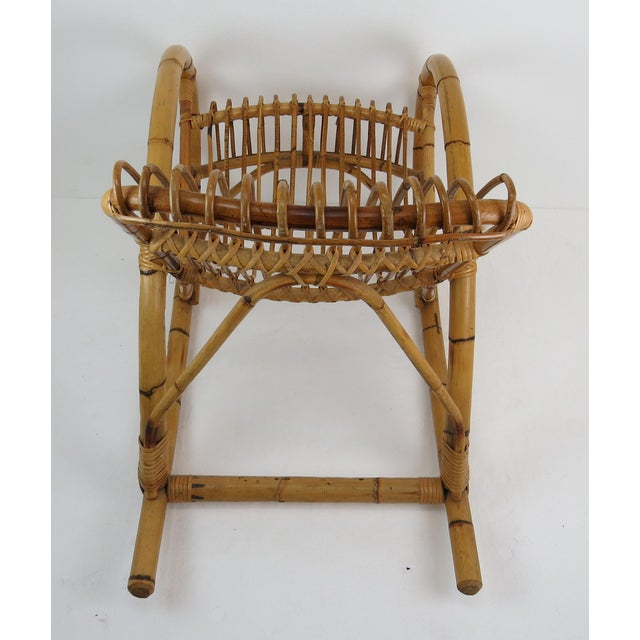 Vintage Franco Albini Style Bamboo Rocking Chair For Sale - Image 12 of 13