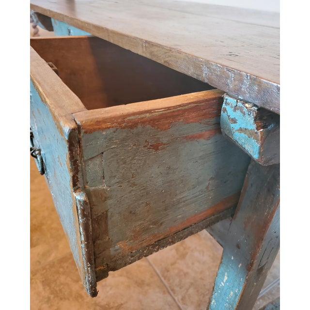 Rustic 19th Centuy Spanish Distressed Painted Table For Sale - Image 10 of 13