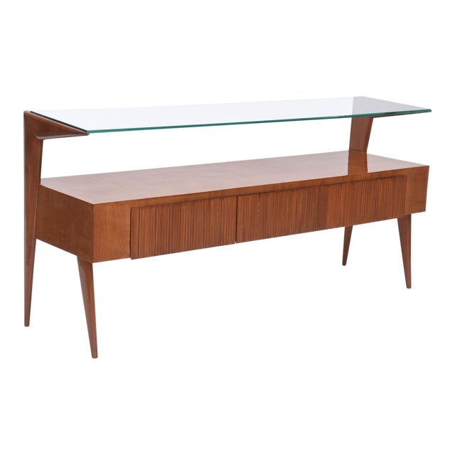 Italian Modern Walnut and Glass Top Two-Tiered Low Table, Paulo Buffa Attributed For Sale