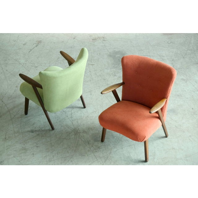 Danish Modern Pair of Danish 1950s Teak Lounge or Cocktail Chairs in the Style of Kurt Olsen For Sale - Image 3 of 9