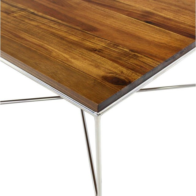 Mid-Century Modern Z Base Stainless Base Wood Top Coffee Table For Sale - Image 6 of 10