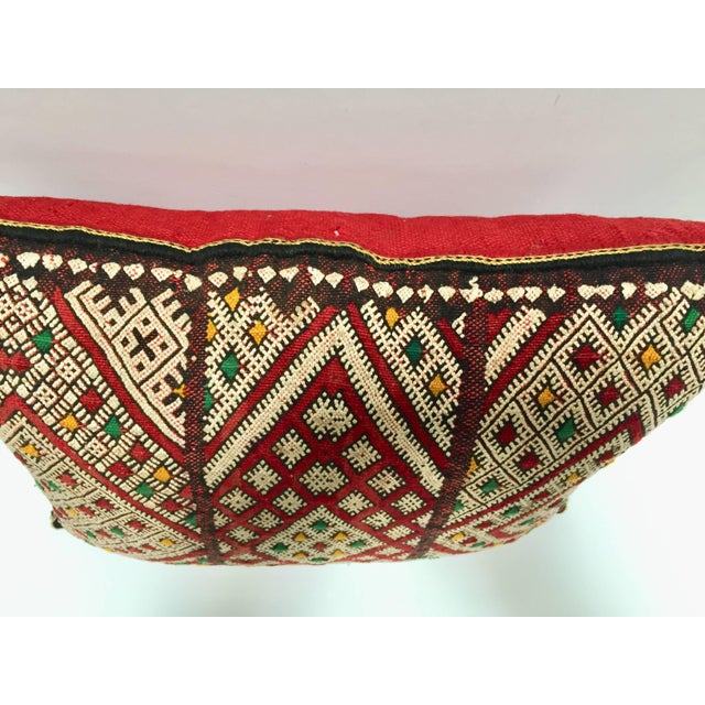 Mid 20th Century Moroccan Berber Pillow With Tribal African Designs For Sale - Image 5 of 10