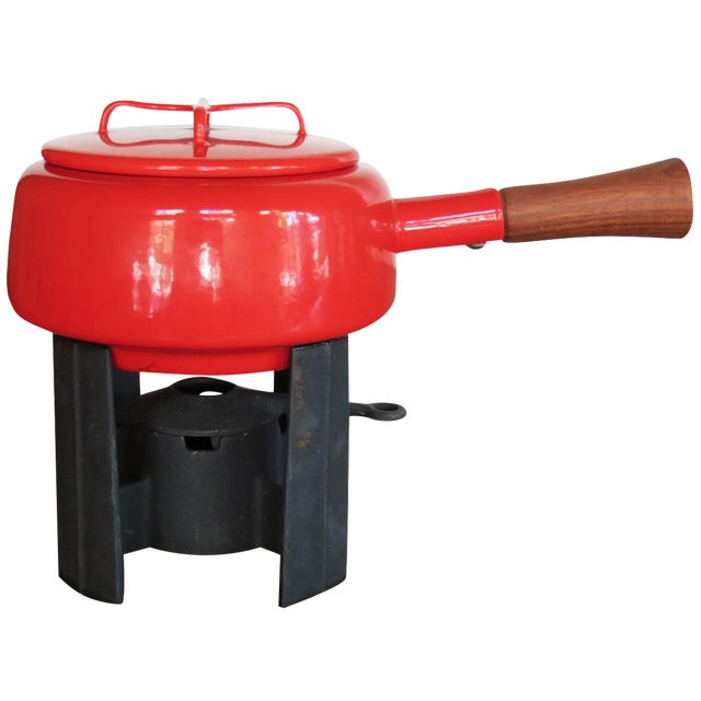 Dansk Kobenstyle Red Enamel Fondue Pot For Sale