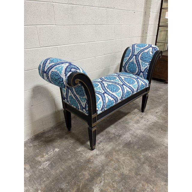 Italianate Scrolled Arm Custom Designer Bench For Sale - Image 10 of 12