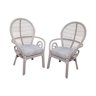 Surfside Painted Rattan Fanback Arm Chairs - Pair For Sale