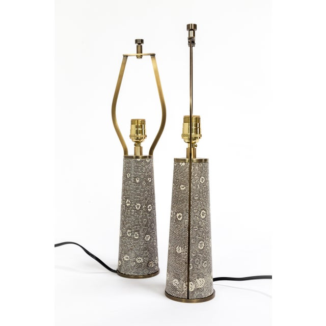 Tuell and Reynolds Lizard Skin & Bronze Borrego Lamps by Tuell + Reynolds - a Pair For Sale - Image 4 of 12
