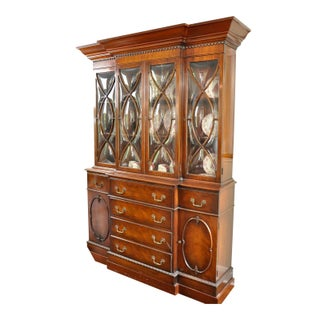 1940's Vintage Hollywood Regency Mahogany Breakfront For Sale