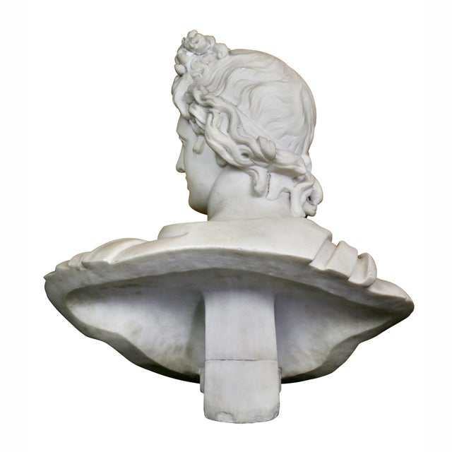 Gold Italian White Marble Bust of Apollo Belvedere With Bauhaus Design Pedestal Base For Sale - Image 8 of 9