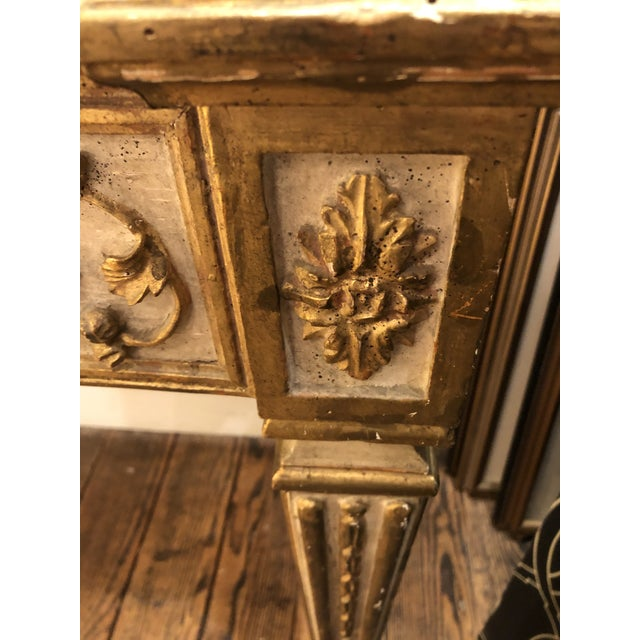 Wood Antique Gilded Painted Italian Regency Console Table With Marble Top For Sale - Image 7 of 11