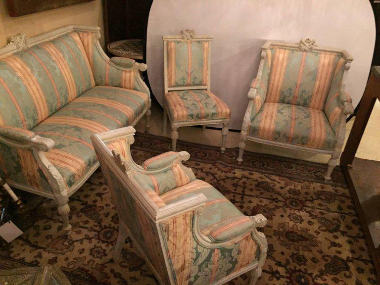 Salon Style Louis 16 swedish fashioned louis xvi style salon suite, off-white paint