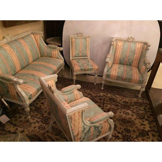 Swedish Fashioned Louis XVI Style Salon Suite, Off-White Paint Decorated Finish - Image 3 of 10