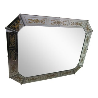 Mid Century Mirror With Heavy Chrome Corners and Eglomise Panels For Sale