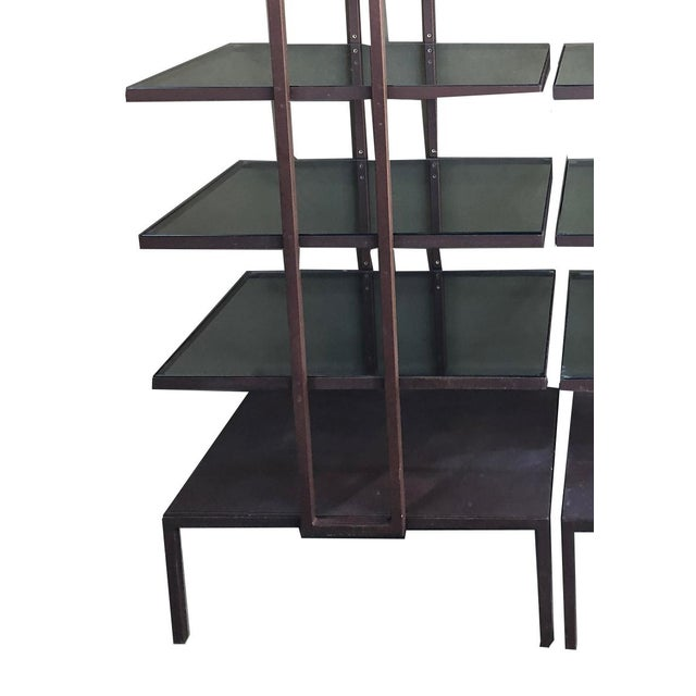 Pair of Iron and glass standing shelves. Great for indoor or outdoor use. Would be great for display!