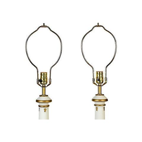 1960s Glass Gilt Accented Table Lamps - A Pair - Image 2 of 4