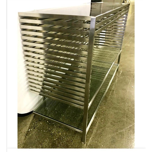 Mid-Century Modern Style Laser Cut Steel, Glass and Chrome Dry Bar For Sale - Image 11 of 13