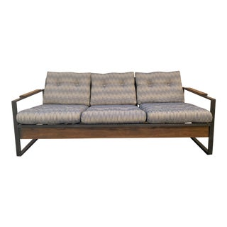 Vintage Metal and Wood Framed Day Bed Sofa For Sale