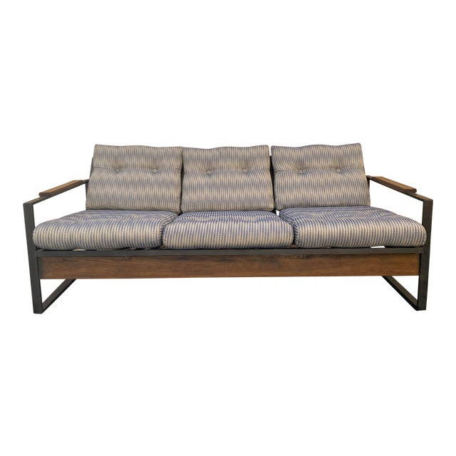 Vintage Metal and Wood Framed Day Bed Sofa For Sale