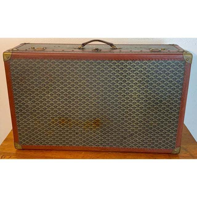 Vintage Goyard Hardcase Trunk on Iron Stand For Sale - Image 4 of 13