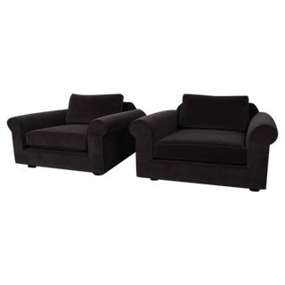 """Pair of """"Big Texan"""" Lounge Chairs by Edward Wormley for Dunbar in Mohair"""