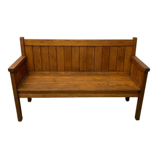 Antique Oak Bench With Arms For Sale