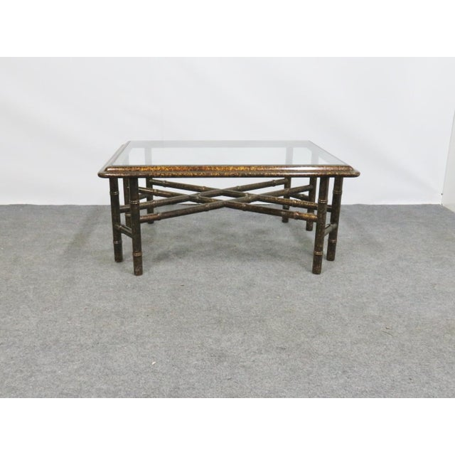 John Widdicomb Faux bamboo Glass top coffee table with gold sponge faux painted finish